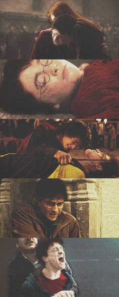 The last picture breaks my heart- it's after Sirius died... Harry's reaction to people in his life sacrificing themselves for his sake.