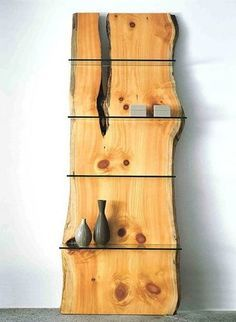 Natural wood slab with glass shelves Natural Wood Furniture, Log Furniture, Furniture Design, System Furniture, Outdoor Furniture, Cheap Furniture, Bedroom Furniture, Wood Projects, Woodworking Projects