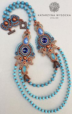 Soutache necklace boho jewelry OOAK necklace blue copper
