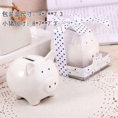 50Set/LOT Lovely Ceramic White Pig Bank wedding bridal baby shower favor guest gift Free shipping $140.00
