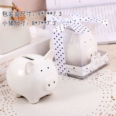 50Set/LOT Lovely Ceramic White Pig Bank wedding bridal baby shower favor guest gift Free shipping $140.00