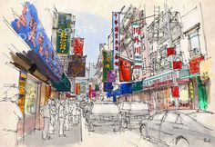 CHINATOWN, Manhattan Sketch, Colorful handmade drawing of New York. Original Handmade drawing Art Print,wall print for office or men's cave by drawspots. Explore more products on http://drawspots.etsy.com