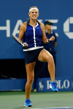 Victoria Azarenka Photos: US Open Tennis: Day 8. Victoria Azarenka of Belarus celebrates match point against Aleksandra Krunic of Serbia on Day Eight of the 2014 US Open at the USTA Billie Jean King National Tennis Center on September 1, 2014 in the Flushing neighborhood of the Queens borough of New York City.