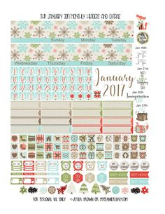 January 2017 Monthly Headers and Extras for the Classic Happy Planner from myplannerenvy.com
