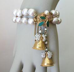 Vintage MIRIAM HASKELL Baroque Pearl BRACELET Seed Pearls BELL TASSELS #MiriamHaskell