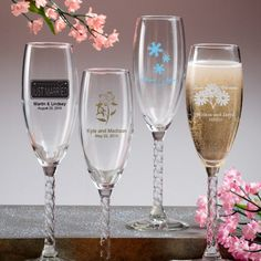 Personalized silk screened glass champagne glasses. Great for weddings, bridal showers & anniversaries.