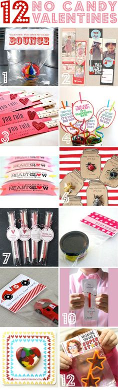 12 No Candy Valentine's: Bouncy Ball Free Printable bookmark Ruler Silly Straw Glow Stick Bracelet Love Bug Pencil Play-Doh Race Car Magnifying Glass Recycled Heart Crayons Super Star Glasses