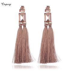 Yhpup Colorful Bohemian Silk Long Tassel Dangle Earrings Inlay Big Crystal Wedding Party Fashion Earring Brincos Bridesmaid Gift