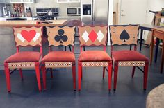 1950's style hand painted poker / playing card rockabilly themed chairs.