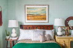 Geyser by OLYMPIC - Calm and cozy guest bedroom with Land of Infinity print from Minted.