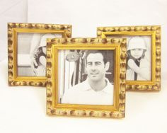 """Three Gold Square Standing Photo Picture Frame Lot NIB SAKS Fifth Ave 3.5""""sq #SAKS #Contemporary"""