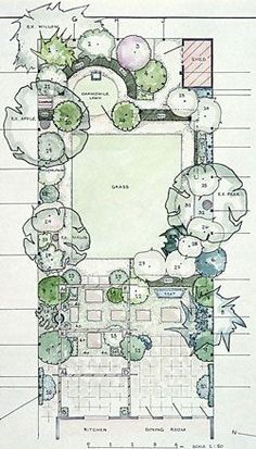 garden design plan with main square lawn and hidden rear circular one - Garden Design Layouts