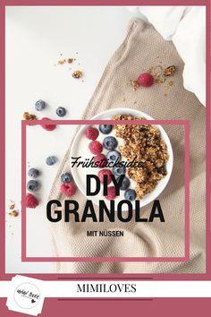 Frühstücksidee: Granola mit Nüssen selbstgemacht (DIY) Granola, Yummy Food, Red, Beauty, Easy Recipes, Healthy Food Recipes, Clean Foods, Homemade, Tutorials