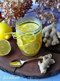 Ala piecze i gotuje: Syrop na przeziębienie cytryna, miód i imbir Kampot, Preserves, Food And Drink, Drinks, Cooking, Health, Desserts, Gastronomia, Oil
