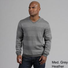 @Overstock - Warm and soft enough for normal wear, this cashmere v-neck sweater is also dressy enough for special occasions. Made in a striped pattern of dark and light gray, this sweater is long-sleeved with ribbing on the sleeves and waist for a close fit.http://www.overstock.com/Clothing-Shoes/Weatherproof-Mens-Cashmere-Blend-V-neck-Sweater/6626741/product.html?CID=214117 $73.99