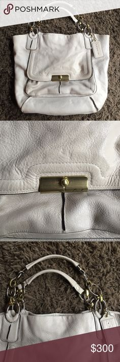 Coach White Metallic Large Shoulder Bag w chains! Authentic Coach Purse- White Vintage Metallic leather -- Large Bucket Shoulder Bag with large, heavy gold and silver link chains! Like new condition! Pictures do not do this bag justice! Coach Bags Shoulder Bags