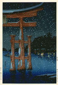 Miyajima por la noche por Tsuchiya Koitsu, 1941 (published by Baba Nobuhiko) Japan Illustration, Art Occidental, Japanese Woodcut, Art Japonais, Japanese Painting, Japanese Prints, Japan Art, Woodblock Print, Chinese Art
