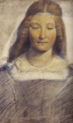 Leonardo da Vinci, 1452-1519, Italian, Drawing of a woman. Study for Saint Barbara, 1498-1502.  Black chalk, charcoal, and chalks of various colors, washed with white on prepared paper, 54.5x40.5 cm.  Biblioteca Ambrosiana, Milan.  High Renaissance.