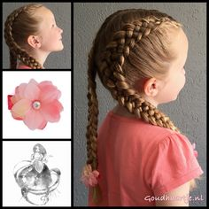Two five strand dutch braids with flower hairclips from the webshop www.goudhaartje.nl (worldwide shipping).    #hair #hairstyle #hairinspiration #hairideas #braid #braids #plait #trenza #vlecht #haar #fivestrandbraid #dutchbraid #pigtails  #longhair #beautifulhair #gorgeoushair #stunninghair #coolhair #hairstyles #hairclip #flower #hairaccessories #haaraccessoires #goudhaartje #hairinspo #braidinspo