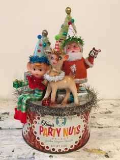 Handcrafted OOAK Vintage Christmas Assemblage Party Nut Tin Can Santa Reindeer Elf Bottle Brush Trees Repurposed Decoration Ornament Gift by JVintiqueDesigns on Etsy