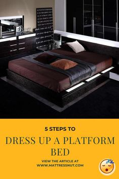 5 Steps to Dress Up a Platform Bed | Although plain bedsheets are an easy, safe and aesthetic option for modern style platform beds, this is not the only option. Depending on the style of your room you can also go for printed bedsheets and make your bed look like a piece of art. #decor #homedecor #bedroom #furniture #platformbeds #mattressnut Raised Platform Bed, Platform Bed With Storage, Platform Bedroom, Diy Platform Bed, Bed Storage, Bedroom Storage, Bed Designs With Storage, Platform Bed Designs, Bed Frame Design