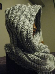 My rendition of the hooded scarf.  Very, very happy with the results!