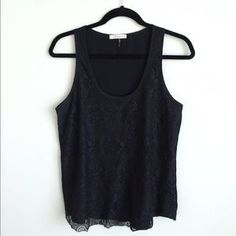 Tops - Freebird black lace tank