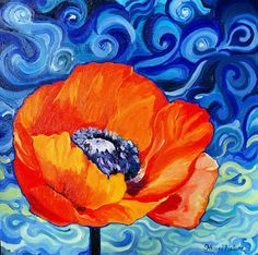 Original Oil Painting Impressionist Art Poppy