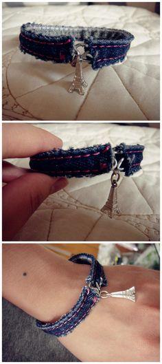 old jeans into fashion bracelet!