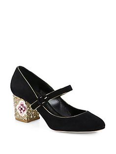 Dolce & Gabbana Suede Mary Jane Mosiac-Heel Pumps