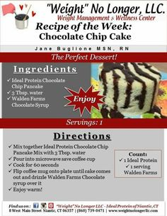 Protein Desserts, Protein Diets, Protein Recipes, Chocolate Chip Mug Cake, Chocolate Syrup, Ideal Protein Phase 1, Walden Farms, Healthy Lifestyle, Chips