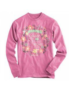 Cherished Girl Amazing Grace Flowers Girlie Christian Bright Long Sleeve T Shirt