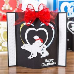 Tattered Lace Little Monsters Die - Polar Bear from Create and Craft USA Create And Craft, Little Monsters, Christmas 2016, Polar Bear, Valentines Day, Christmas Cards, Projects To Try, Crafty, Holiday Decor