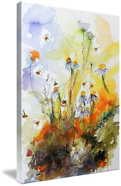 #Chamomile Flowers #Watercolor Print by Ginette Callaway: From my Original Watercolor and Ink painting. For original art please visit ginettecallaway.com