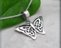 Butterfly Necklace Sterling Silver Celtic Knot Pendant Papillon Everyday Irish Jewelry (SN709)