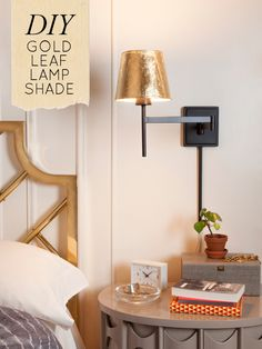 Use gold leaf to transform a simple lamp shade.