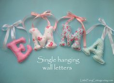 Hanging Letter/s Shabby Chic Fabric letters by LittleFairyCottage