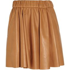 Acne Romantic leather mini skirt (36.950 RUB) ❤ liked on Polyvore featuring skirts, mini skirts, bottoms, saias, acne, light brown, beige mini skirt, fitted mini skirt, leather mini skirt and mini skirt