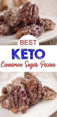 Keto pecans that are a MUST try! These keto cinnamon sugar pecans are amazing! Such a great treat on a ketogenic diet. Sugar Coated Pecans, Cinnamon Sugar Pecans, Sugared Pecans, Low Carb Sweets, Low Carb Desserts, Low Carb Recipes, Dessert Recipes, Protein Recipes, Lunch Recipes