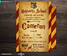 Harry Potter Invitation Harry Potter Birthday Harry Potter