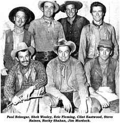 "The Cowboys of the Western show ""Rawhide"": Wishbone, Pete, Favor, Rowdy, Quince, Scarlet, & Mushy"