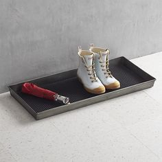 crate and barrel Zinc Boot Tray with Liner. Galvanized iron boot tray with satin lacquer topcoat Vulcanized rubber liner Clean boo. Crate And Barrel, Shoe Tray, Winter Essentials, Cool Boots, Winter Boots, Ski Boots, Keep It Cleaner, At Least, Shoes