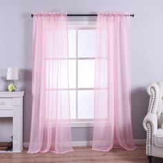 Anjee Pink Sheer Curtains, 96 inches Long Voile Curtain,Semi Sheer Curtain for Living Room, Dining Room, Bedroom,2 pcs