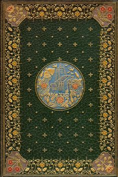 """The Deserted Village (1855) by Oliver Goldsmith. """"green morocco with gilt and colour inlays by Sangorski & Sutcliffe."""" From the Cardiff Rare Books Collection. © 2011 Special Collections and Archives, Cardiff University Library.  Rare Edition, Illuminated Manuscript,  Beautiful Book Binding, Art,"""