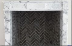 Excellent Free of Charge herringbone Brick Fireplace Style Love the herringbone pattern Fireplace Tile Surround, Marble Fireplace Mantel, Marble Fireplaces, Fireplace Inserts, Fireplace Surrounds, Fireplace Design, Fireplace Mantels, Mantles, Fireplace Ideas