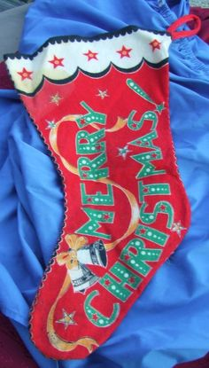 #retrostocking#Antique Stocking 1950s CHRISTMAS STOCKING Santa Claus #Stockings this is now for sale on ebay super cheap search ebay for item number 351254882060