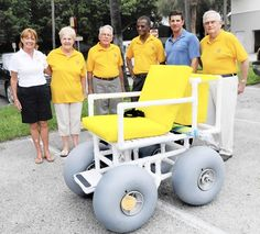 The Delray Beach Lions donated a balloon-tired wheel chair to the Delray Beach life guards after hearing about it in LION Magazine. The $1,215 chair will make the beach accessible to people who use wheelchairs.