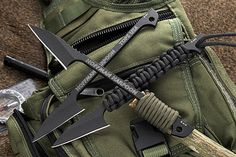TOPS Hoffman Harpoon. This great fixed blade knife has a paracord wrapped handle and is all set up so you can use it as a regular knife or affix it to a stick and use it as a spear or harpoon.