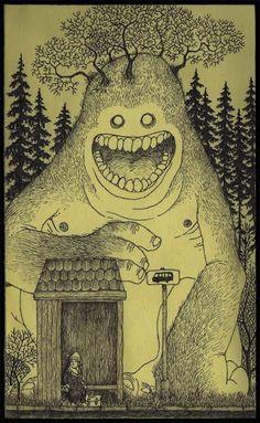 Dreamy pen-on-Post-It artwork (reminds us of Edward Gorey)