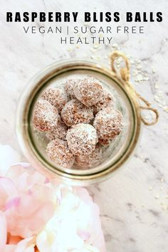 Naturally sweetened and totally nutritious, these raspberry bliss balls make the perfect snack between meals or lunch box addition. Vegan Sweets, Vegan Snacks, Healthy Treats, Healthy Food, Healthy Bars, Raw Desserts, Sugar Free Desserts, Healthy Desserts, Raw Food Recipes